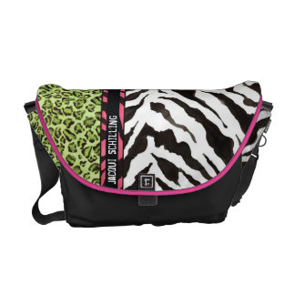 Chic Trendy Hot Pink  Black Leopard Zebra Pattern Courier Bag