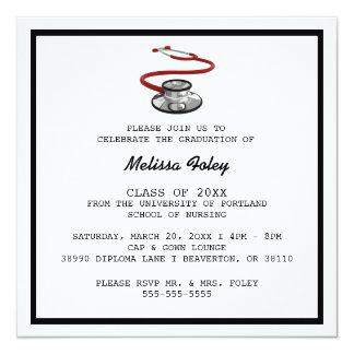 Chic Trendy Medical School Graduation Announcement