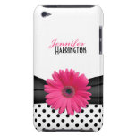 Chic Trendy Pink Gerbera Daisy Polka Dot iPod Case iPod Case-Mate Case