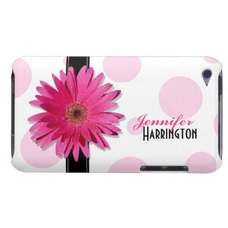 Chic Trendy Pink Gerbera Daisy Polka Dot iPod Case Barely There iPod Covers