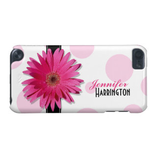 Chic Trendy Pink Gerbera Daisy Polka Dot iPod Touch (5th Generation) Cover
