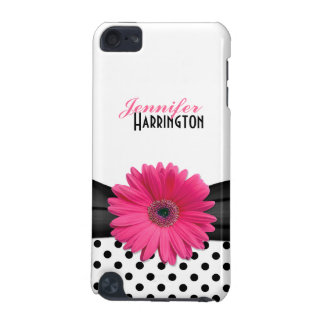Chic Trendy Pink Gerbera Daisy Polka Dot iPod Touch (5th Generation) Covers