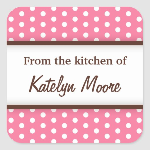 Chic trendy pink polka dots from the kitchen of square sticker