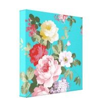 Chic trendy pink red floral vintage roses pattern canvas print