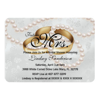 Chic Trendy Silver Rings With Pearls Bridal Invite