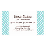 Chic trendy whimsical teal aqua chevron pattern business card templates