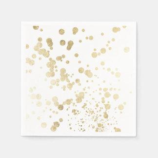 Chic trendy white faux gold elegant confetti dots napkin
