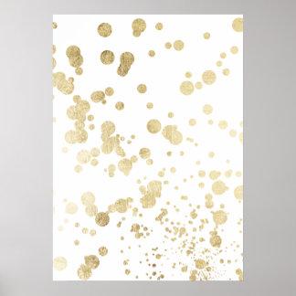 Chic trendy white faux gold elegant confetti dots poster