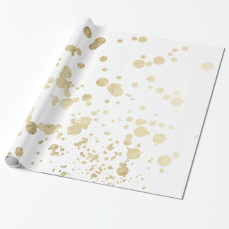 Chic trendy white faux gold elegant confetti dots wrapping paper