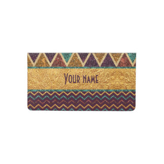 Chic Triangle and Chevrons Faux Glitter Foil Checkbook Cover