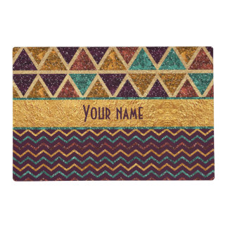 Chic Triangles and Chevrons Faux Glitter Foil Placemat