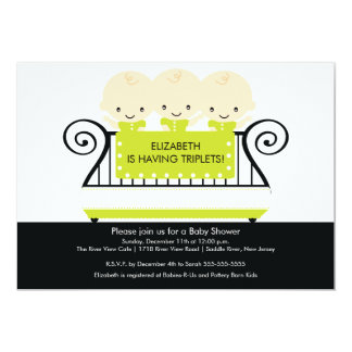 Chic TRIPLETS in Crib Baby Shower Invitation Lime