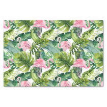 Chic Tropical Pink Flamingo and Leaves Patterned Tissue Paper
