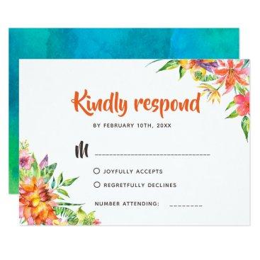 Hawaiian Themed Chic Tropical Watercolor Summer Wedding RSVP Card