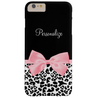 Chic True Pink Ribbon Bow Leopard Print With Name Barely There iPhone 6 Plus Case