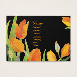 Chic Tulips Orange & Black Business Cards