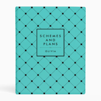 Chic Turquoise and Black Dots Mini Binder