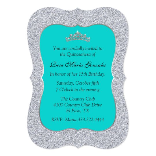 Chic Turquoise And Silver Quinceanera Invitation