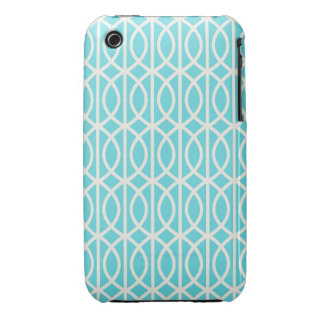 Chic Turquoise and White Moroccan Trellis Pattern iPhone 3 Case