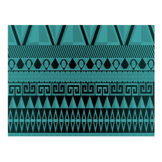 Chic Turquoise Aztec Pattern Postcard