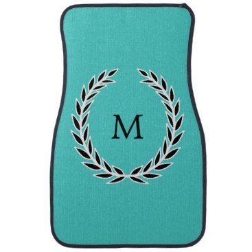 McTiffany Tiffany Aqua Chic Turquoise Black and White Wreath Monogram Car Floor Mat