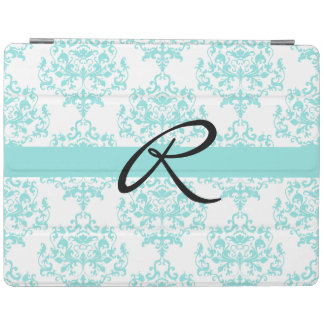 Chic Turquoise Blue and White Damask iPad Cover