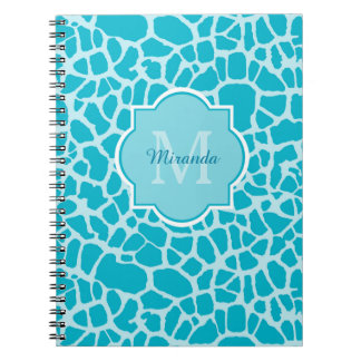 Chic Turquoise Giraffe Print Monogram and Name Spiral Note Book
