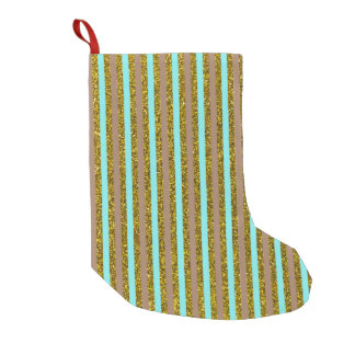Chic Turquoise Gold Stripes Glitter Photo Print Small Christmas Stocking