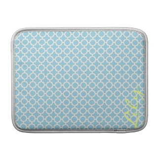 chic turquoise pattern with lemon text MacBook sleeve