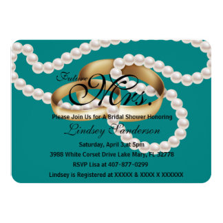 Chic Turquoise Rings With Pearls Bridal Invite