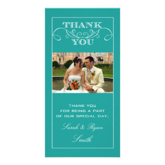 Chic Turquoise Wedding Thank You Photo Cards