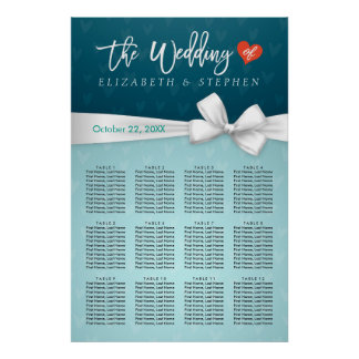 Chic Turquoise White Ribbon Wedding Seating Chart