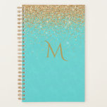"Chic Turquoise with Faux Gold Glitter Planner<br><div class=""desc"">Elegant daily / monthly planner done in turquoise with graphics of golden glitter,  across the top.  Personalize the one letter monogram to suit your needs.</div>"