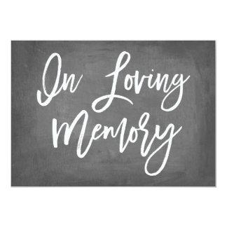 Chic Typography Chalkboard In Loving Memory Print Card