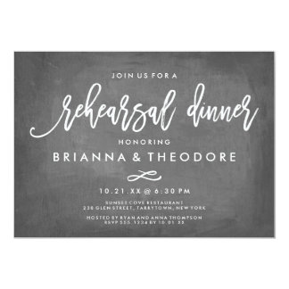 Chic Typography Chalkboard Rehearsal Dinner Invitation