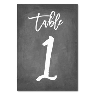Chic Typography Chalkboard Table Number  | Table 1