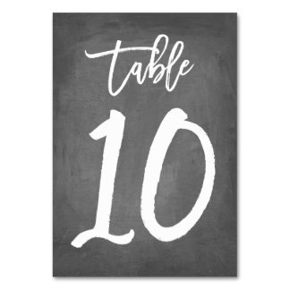 Chic Typography Chalkboard Table Number | Table 10 Card