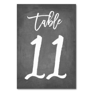 Chic Typography Chalkboard Table Number | Table 11