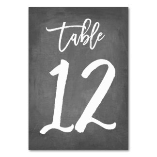 Chic Typography Chalkboard Table Number | Table 12 Card