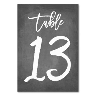 Chic Typography Chalkboard Table Number | Table 13