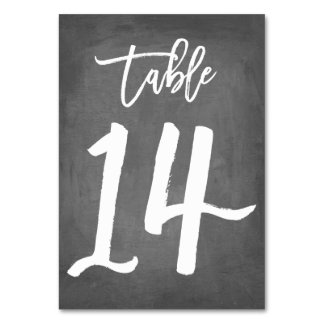 Chic Typography Chalkboard Table Number | Table 14