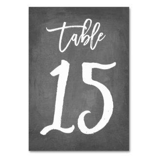 Chic Typography Chalkboard Table Number | Table 15