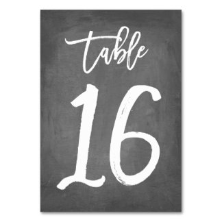 Chic Typography Chalkboard Table Number | Table 16