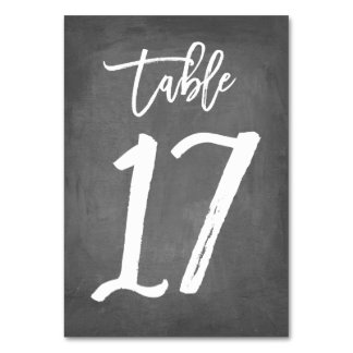 Chic Typography Chalkboard Table Number | Table 17