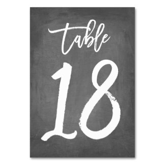 Chic Typography Chalkboard Table Number | Table 18