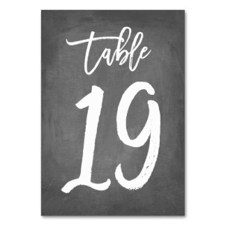 Chic Typography Chalkboard Table Number | Table 19