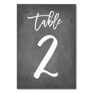 Chic Typography Chalkboard Table Number | Table 2
