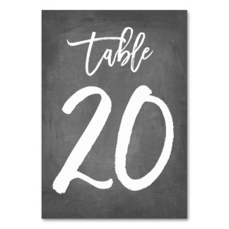 Chic Typography Chalkboard Table Number | Table 20