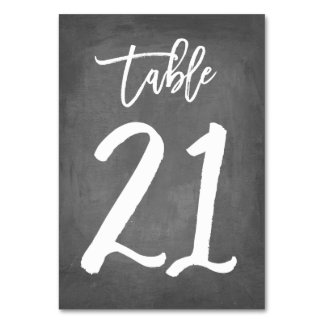 Chic Typography Chalkboard Table Number | Table 21