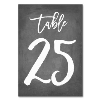 Chic Typography Chalkboard Table Number | Table 25